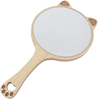 Handheld Mirror with Handle Cat Ear Shaped Cosmetic Mirror Wooden Frame Salon Hairdresser Plain Mirror with Hanging Hole f...