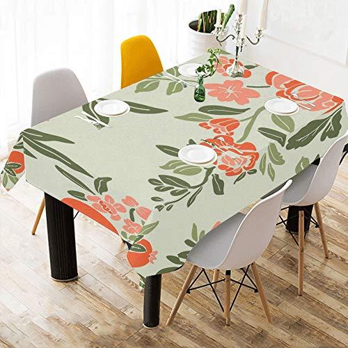 Enhusk Banquete Cubierta de Mesa Flor de Granada Rosa Algodon Estampado de Mesa Ropa de Mesa Cubierta de Tela Mantel para Cocina Comedor Decoracion 60x84 Pulgadas Mesas para Ropa