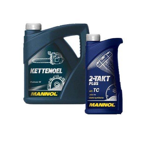 Kettenöl Haftöl 4 Liter und 2-Takt Plus API TC Zweitaktöl 1 Liter Mannol Motorsägen