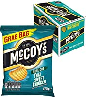 McCoy's Ridge Cut Crisps, Multipack Box of Flavoured Potato Crisp Snacks, 36 x 47.5g – Thai Sweet Chicken