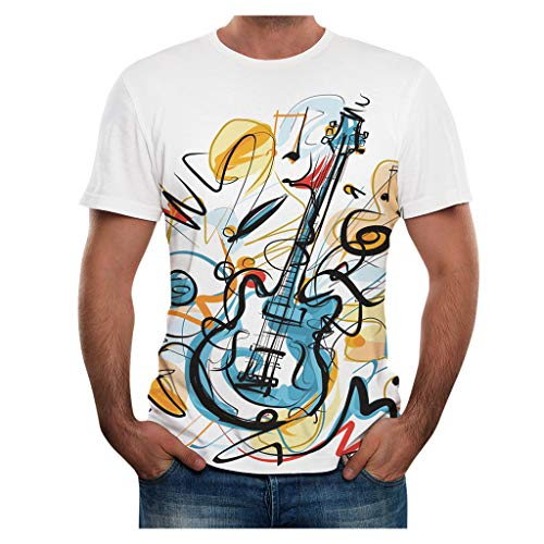 Camiseta Guitarra Eléctrica Camisetas Manga Corta Hombre Verano Camiseta Original Estampadas T Shirt Printed para Concierto Festival Show Banda Rock Fan Yvelands(Blanco,M)