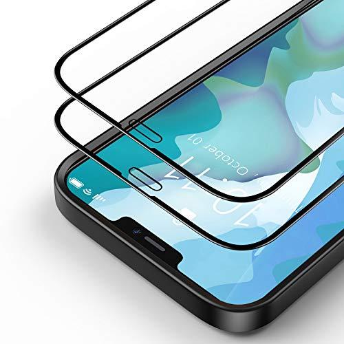 Bewahly Panzerglas Schutzfolie für iPhone 12 Pro Max [2 Stück], 3D Full Screen Panzerglasfolie HD Displayschutzfolie 9H Härte Glas Folie mit Positionierhilfe für iPhone 12 Pro Max 6.7' - Schwarz