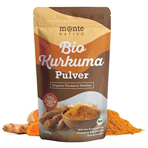 Bio Kurkuma Pulver von MonteNativo – 1000 g/1Kg gemahlen   Premium Kurkumapulver   3% Curcumingehalt   Bio Curcuma aus Indien - geprüfte Qualität, abgefüllt in Deutschland   BIO Curcuma pulver