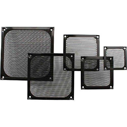 InLine 21563 Griglia per Ventola con Filtro in Alluminio, 80 x 80 mm, Nero