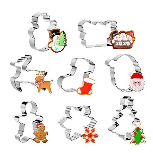 Aitsite 8 Stück Ausstechformen Weihnachten, Backen Plätzchenausstecher Aus Edelstahl Metall, Keksausstecher Weihnachten Fondant Ausstechformen Set für Tortendeko Kekse