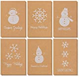 Kraft Paper Holiday Greeting Cards Assortment with Envelopes, 6 Designs (4 x 6 In, 36 Pack)