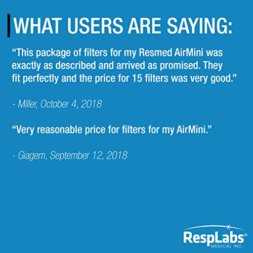 RespLabs CPAP Filters Compatible with ResMed AirMini — Hypoallergenic, Ultrafine | for The Air Mini Travel Device [30 Pack]