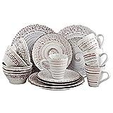 Elama Malibu Embossed Stoneware Ocean Dinnerware Dish Set, 16 Piece, Seashell and White Sand