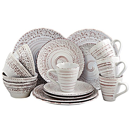 Elama Embossed Stoneware Ocean Dinnerware Dish Set, 16 Piece, Seashell and White Sand