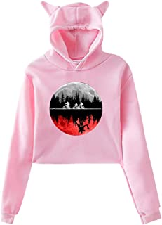 Re-emerwm Womens Stranger Things Classic Long Sleeve Crop Top Hoodie