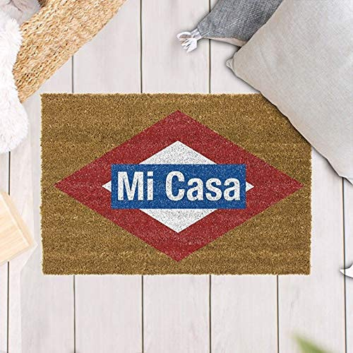 TIENDA EURASIA® Felpudos Entrada Casa Originales y Divertidos - Material : Fibra de Coco HQ con Base Antideslizante de PVC - Medidas : 40x70 cm (MI CASA)