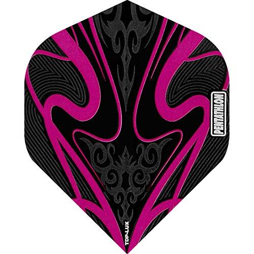 PENTATHLON TDP Lux Dart Flights–Schwarz Serie–STD–10Sets (30) Pink–Inklusive Darts Ecke gebogen Kugelschreiber