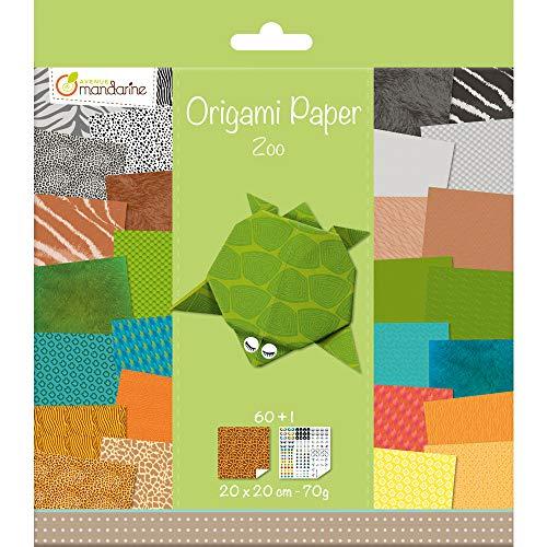 Avenue Mandarine 52504MD Origami color Papier (quadratisch, 20 x 20 cm, mit Faltanleitung, 60 verschiedenen Blätter und 1 Blatt mit Augenset, Zoo)