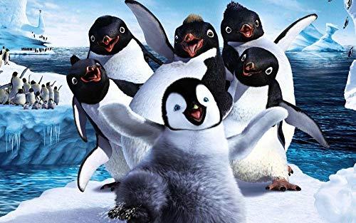 wgkgh DIY Pintura Por Números Para Adultos Pinturas Al Óleo Seniors Niños Lona Kits De Los Dibujo Lienzo Principiante Decoración De Casa Pinturas Pingüino feliz 30CMX40CM