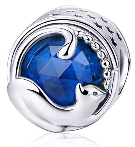 Marni's - Charm Pandora Style Gato con Cristal azul | Colgantes mujer Plata de Ley | Compatibles Pulsera Pandora Charm Plata | Regalos originales Madre | Para Mujer | Regalos para tu Novia originales