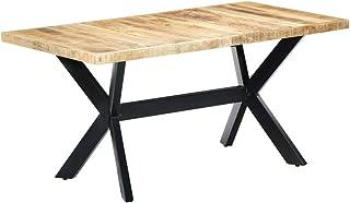 vidaXL Table de salle à manger en bois de manguier massif - Style industriel - Pieds en acier - 160 x 80 x 75 cm