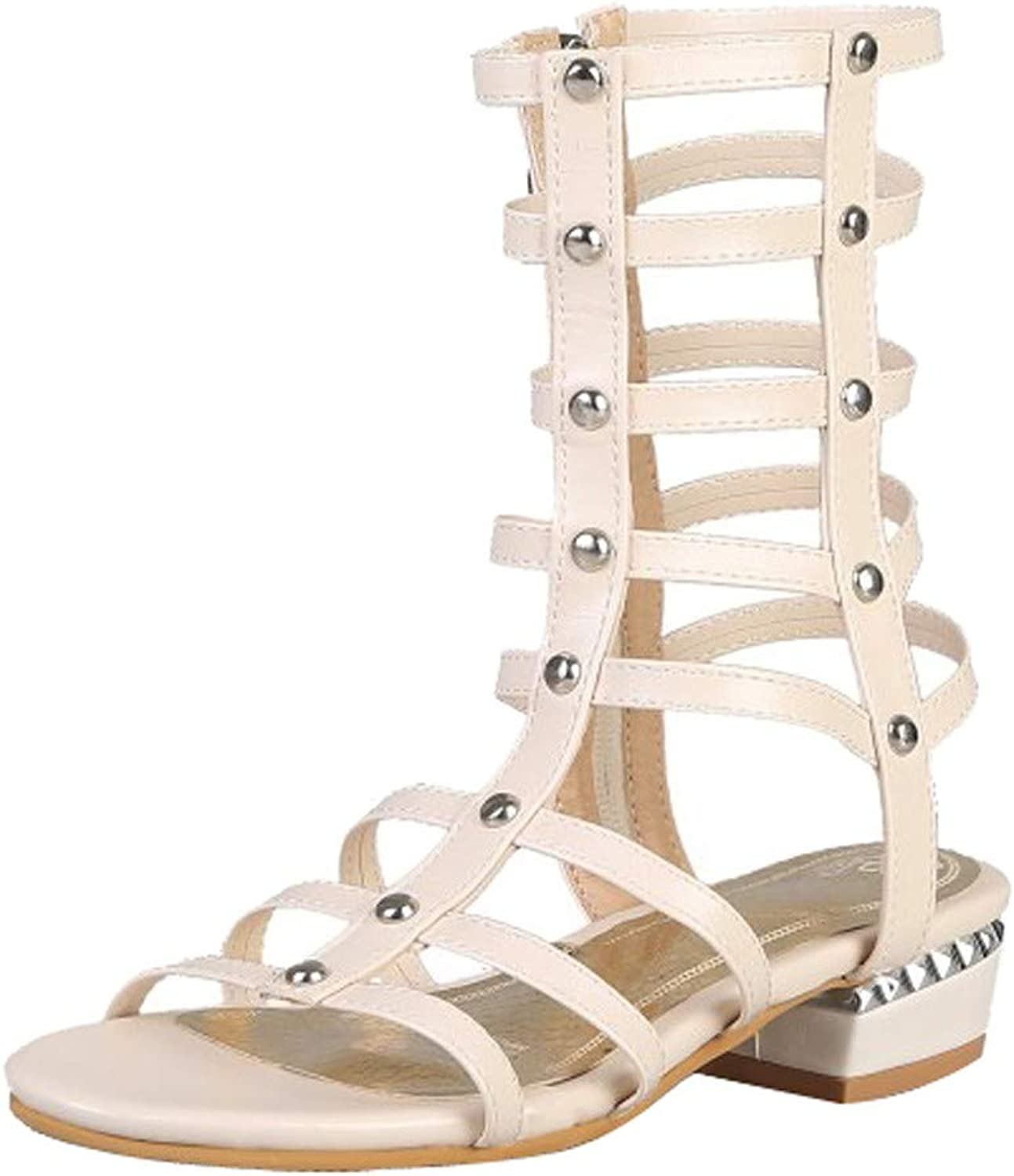 Women Cutout Gladiator Sandals - Ladies Studded Rhinestone Pearl Open Toe Ankle Strappy Caged Gladiator Sandals shoes