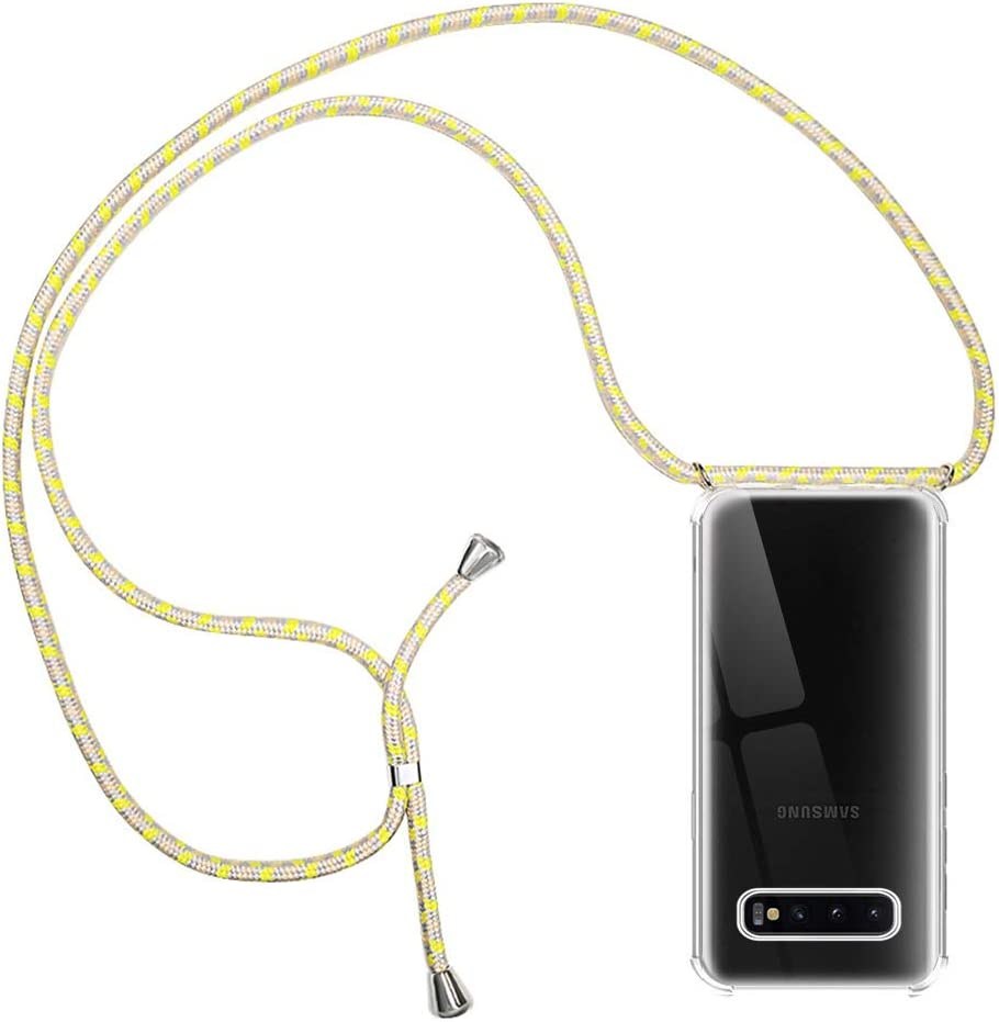 Transparente Silicona Carcasa con Cuerda para Samsung S10 Negro Ultrafina Suave TPU Gel Case con Cuerda para Colgar Ajustable Anti Golpes Protector Case RosyHeart-EU Funda para Samsung Galaxy S10