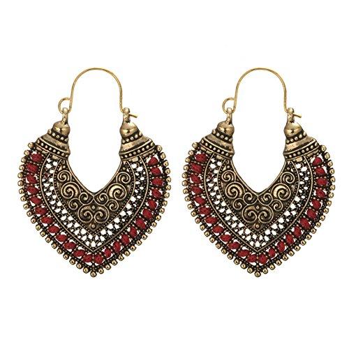 Pendientes de tuerca para mujer, estilo retro, de aleación bohemia, con diseño de corazón, para mujer, color rojo