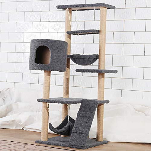 BESTSOON Cat Tree Tower Multi-layer Cat Climbing Tree Cat Litter Sisal Rope Solid Wood Cat Scratching Board Scratching Column Cat Tree Cat Toy Kitten Furniture Activity Centre