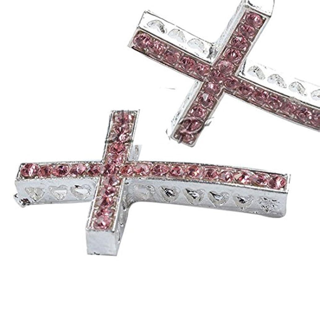 RUBYCA 20pcs Cross Sideway Metal Connector Bead DIY Shamballa Bracelet White Silver Color Light Rose Pink Crystal Inlay