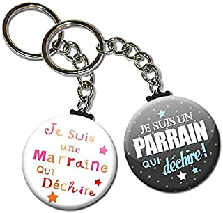 Duo lot de 2 Porte Clés Chaînette 3,8 centimètres je Suis un Parrain Une Marraine qui Déchire Idée Cadeau Accessoire Naiss...