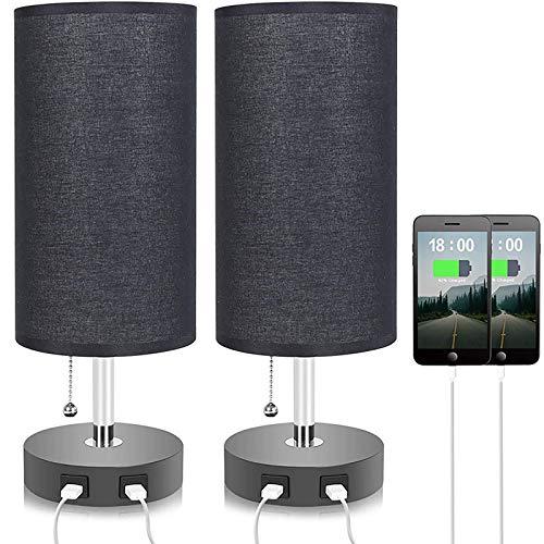 WOERD Lámpara de Mesa LED Lámpara de Escritorio con 2 Puertos de Carga USB Regulable Moderna Lámpara de Mesilla Vintage Negro Pantalla de Tela Lino para Dormitorio Estudio Salón