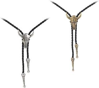 Lovoski 2Pcs Black PU Leather Tie Necktie Cow Skull For Men Rodeo Bolo Tie Necktie