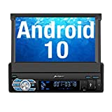 PUMPKIN Single Din Android 10 Car Stereo with GPS, WiFi, Built-in DSP, Support Android Auto, Backup Camera, SD/USB, OBD2, 7 Inch Flip Out Touchscreen
