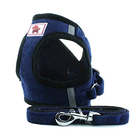 PET SPPTIES Tela de Malla Chaleco para Perros Arnés Suave Ajustable cómodo para Cachorros, Perros Pequeños y Gatos PS042 (M, Dark Blue)