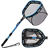 YVLEEN Floating Fishing Net - Folding Fishing Landing Net with Rubber Coating Mesh for Easy Fish Catch and Release, Fishing Net for Freshwater and Saltwater