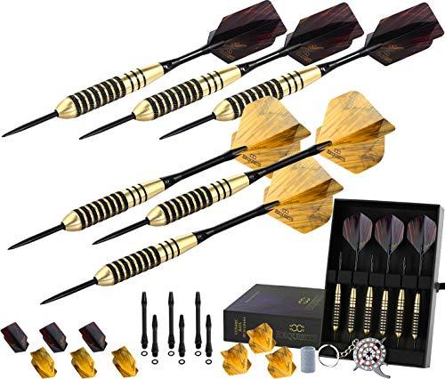 CC-Exquisito juego de dardos profesional – Configuración personalizable 6 puntas de acero de 0.71oz/0.85oz con 12 ejes de aluminio de 35/1.890in, 12 juntas tóricas, 12 vuelos estándar/delgado, herramienta de dardos, sacapuntas y estuche