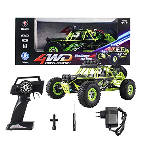 Areyourshop RC Cars Toy, Remote Control Car-Stunt Car Wltoys 12428 1/12 Scale 2.4G 4WD Electric Brushed Crawler RTR