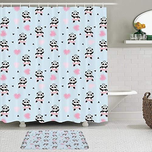 BCVHGD Juegos de Cortinas de Ducha con alfombras Antideslizantes,Adorable Panda Bailarina con Vestido y Corona, Alfombra de baño + Cortina de Ducha con 12 Ganchos