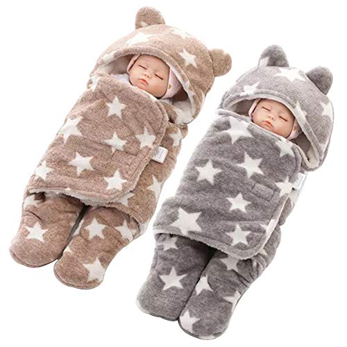 MY NEWBORN Super Soft Baby Wrapper Blanket for Boys and Girls Brown Grey -Combo of 2
