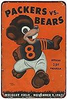 ティンサイン1947グリーンベイパッカーズ対シカゴベアーズヴィンテージアルミメタルサイン