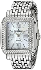 """Case Measures 32mm W x 35mm L - Fits up to 7"""" wrists with removable links to size down to even small wrists Double row Swarovski crystal bezel paired with a mother of pearl dial with Makes the perfect everyday watch while maintaining unique ability t..."""