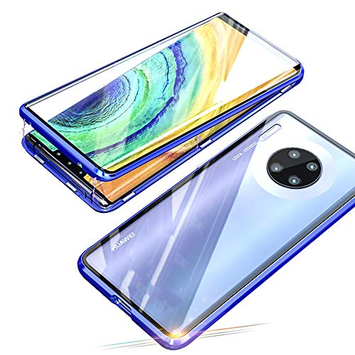 Jonwelsy Coque pour Huawei Mate 30 Pro, d'adsorption Magnétique Pare-Chocs en métal avec 360 degrés Protection Case Cover Double côtés Transparent Verre Trempé Etui Housse pour Mate 30 Pro (Bleu)