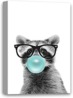 Vizor Funny Raccoon Chewing Bubble Gum Canvas Decor Bubble Gum Canvas Painting Print Funny Animal Blowing Gum Wall Art Gifts 8