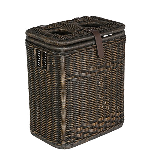 The Basket Lady Wicker Drop-in Divided Recycling Basket, 20 in L x 13 in W x 24 in H, Antique Walnut Brown