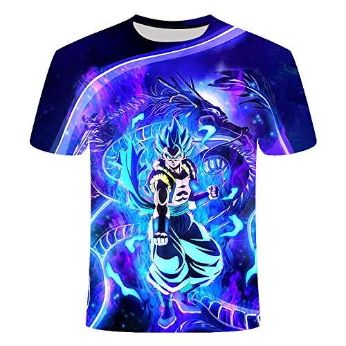 T-Shirt Herren Dragon Ball Z Goku 3D t Shirt Kurzarm Oansatz t-Shirt Sommer Saiyan Vegeta Harajuku Kleidung T-Shirt (G,M)