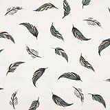 0,5m Jersey Federn Feathers Rosa-Grau-Petrol auf Weiß