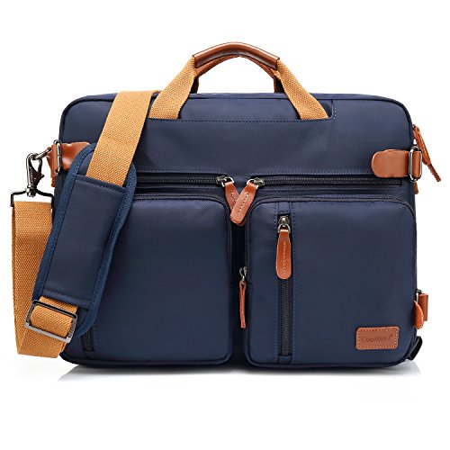 CoolBELL umwandelbar Aktentasche Messenger Bag Umhängetasche Laptop Tasche Business Backpack Bag Multifunktions Reise Rucksack Notebook Schultertasche Passend für 17 Zoll Laptop/Herren/Damen(Blau)