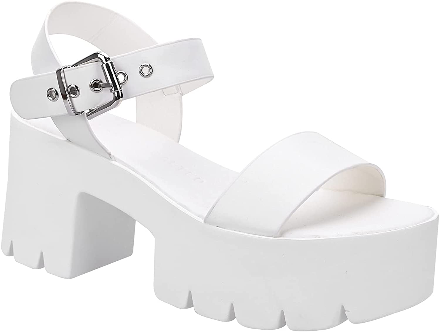 READYSALTED Open Toe Band Ankle Strap Buckle Casual Comfort Chunky Platform Sandals for Women (JAFFA20)