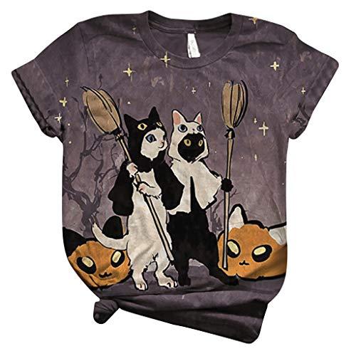 Camisetas Mujer Verano Manga Corta Originales con Estampado de 3D Gato Lindo, T Shirts Mujers Camisas Deporte Baratas Blusas, Camiseta Divertidas Básica tee Tops para Mujeres Regalos