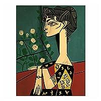 ピカソジャクリーヌと花ヴィンテージポスター装飾絵画レトロウォールステッカーバーカフェルームの写真装飾-50x70cmx1フレームなし