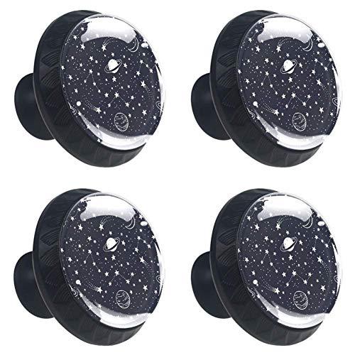 Cooler Totenkopf-Schubladenknauf, Schranktür, Möbelgriffe, verblasst nicht, 4 Stück, Sternbilder und Sterne, 3.5×2.8CM/1.38×1.10IN