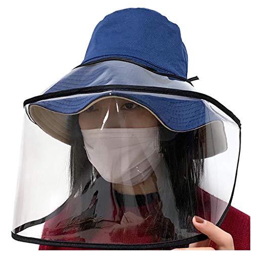 WZJN Sombrero para el Sol Mascarilla Tapa Protectora extraíble Sombrero antivaho Máscara de Aislamiento Anti-Ultravioleta,Azul