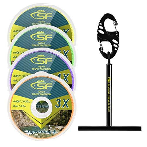 SF - Línea de nailon transparente con soporte para pesca con mosca Tippets líderes trucha # Nylon 3-4-5-6X