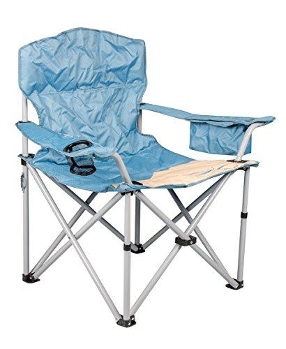 Meerweh Erwachsene Camping Faltstuhl mit Getränkehalter und Kühlfach, Beige/Blau, XXL, 20018